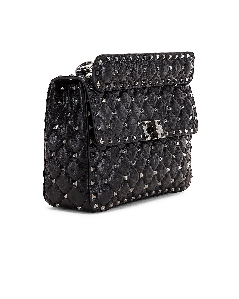 Image 4 of Valentino Rockstud Spike Medium Shoulder Bag in Nero