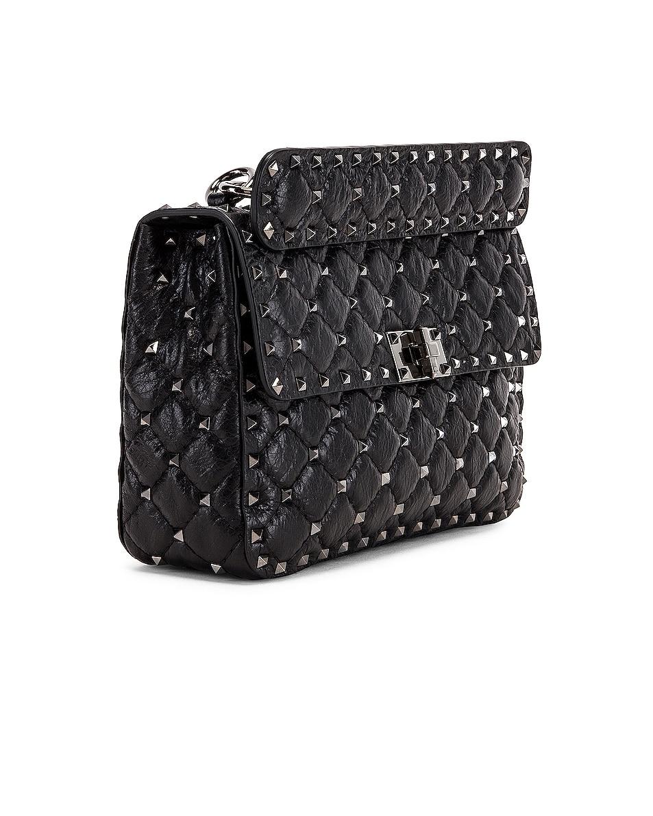 Image 4 of Valentino Rockstud Spike Medium Shoulder Bag in Nero