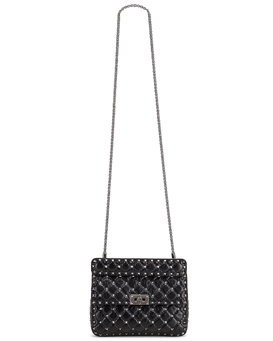 Image 6 of Valentino Rockstud Spike Medium Shoulder Bag in Nero