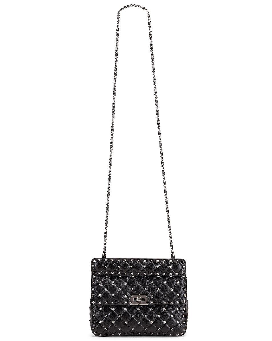 Image 6 of Valentino Rockstud Spike Medium Shoulder Bag in Nero