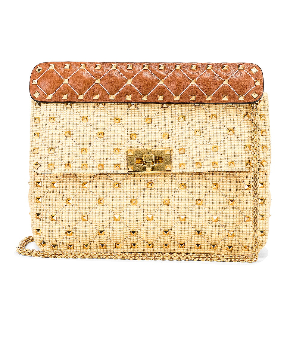 Image 1 of Valentino Rockstud Spike Medium Shoulder Bag in Natural & Tan
