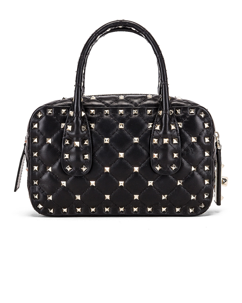 Image 3 of Valentino Rockstud Spike Small Duffle Bag in Nero