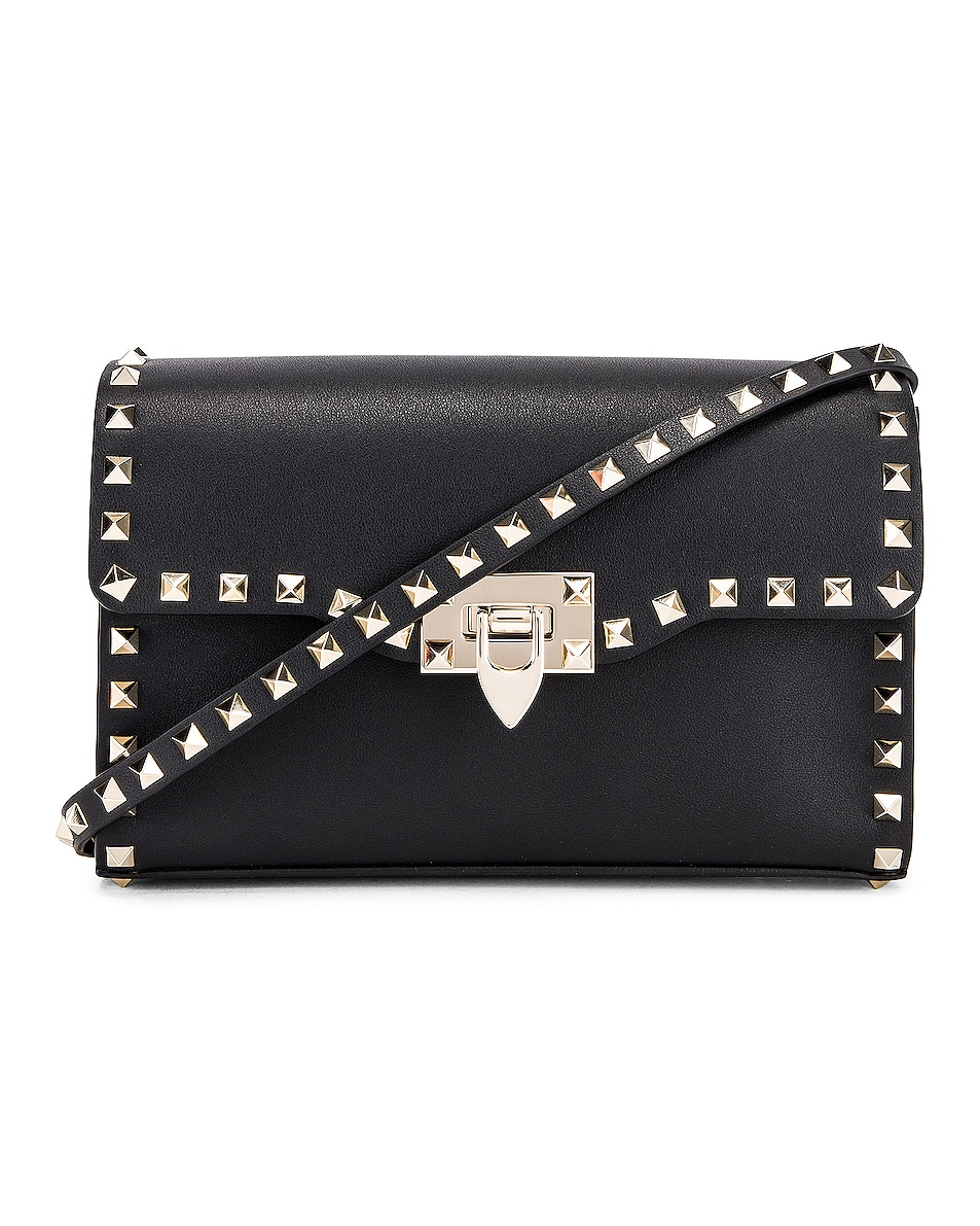 Image 1 of Valentino Rockstud Small Shoulder Bag in Nero