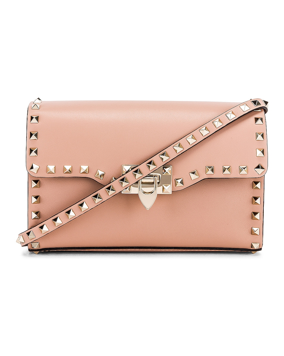 Image 1 of Valentino Rockstud Small Shoulder Bag in Rose Cannelle