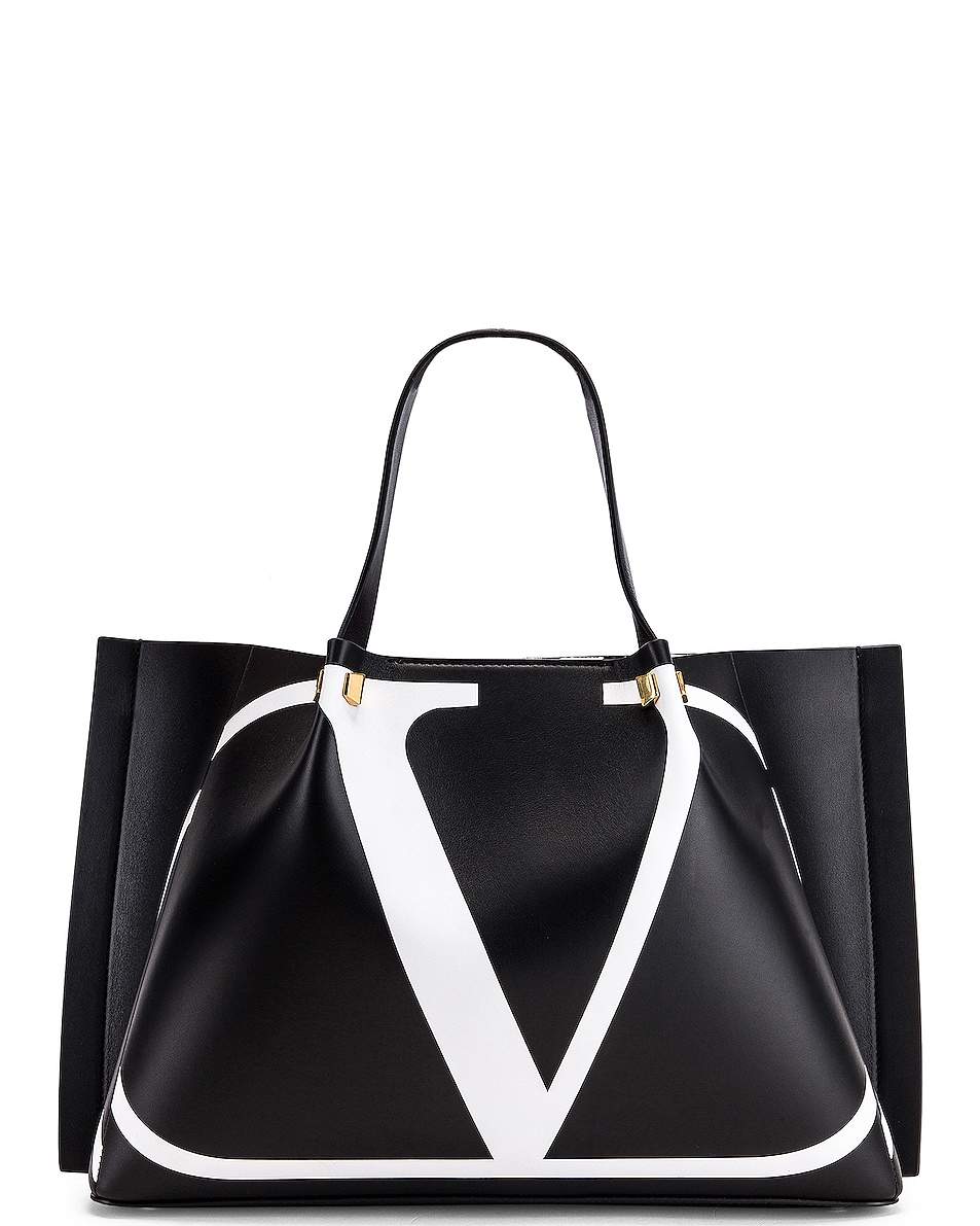 Image 1 of Valentino VLogo Escape Medium Tote in Black & White