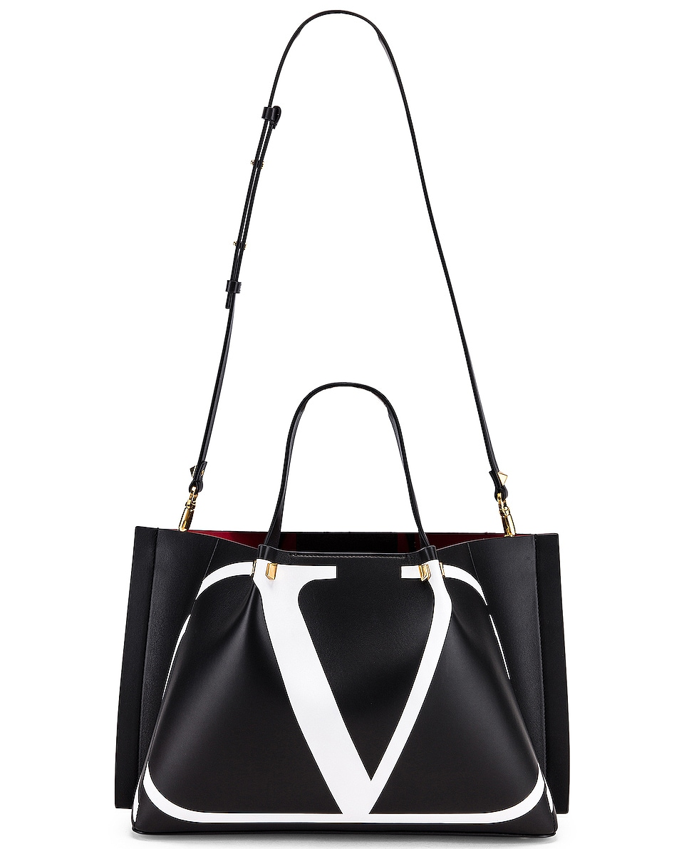 Image 6 of Valentino VLogo Escape Medium Tote in Black & White