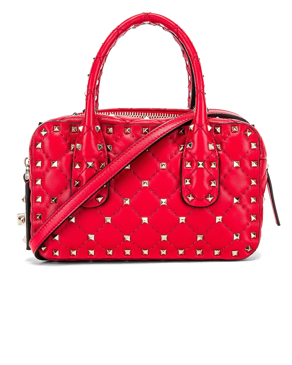 Image 1 of Valentino Rockstud Spike Small Duffle Bag in Rouge