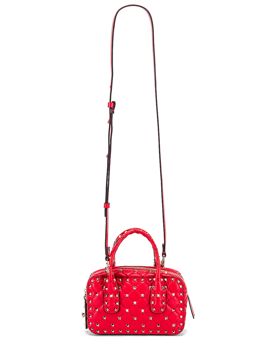 Image 6 of Valentino Rockstud Spike Small Duffle Bag in Rouge
