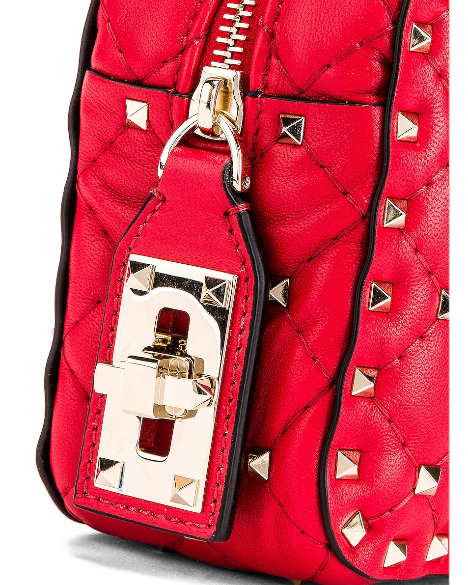 Image 8 of Valentino Rockstud Spike Small Duffle Bag in Rouge