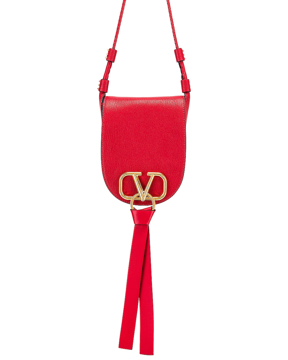 Image 1 of Valentino VRing Small Saddle Bag in Rouge
