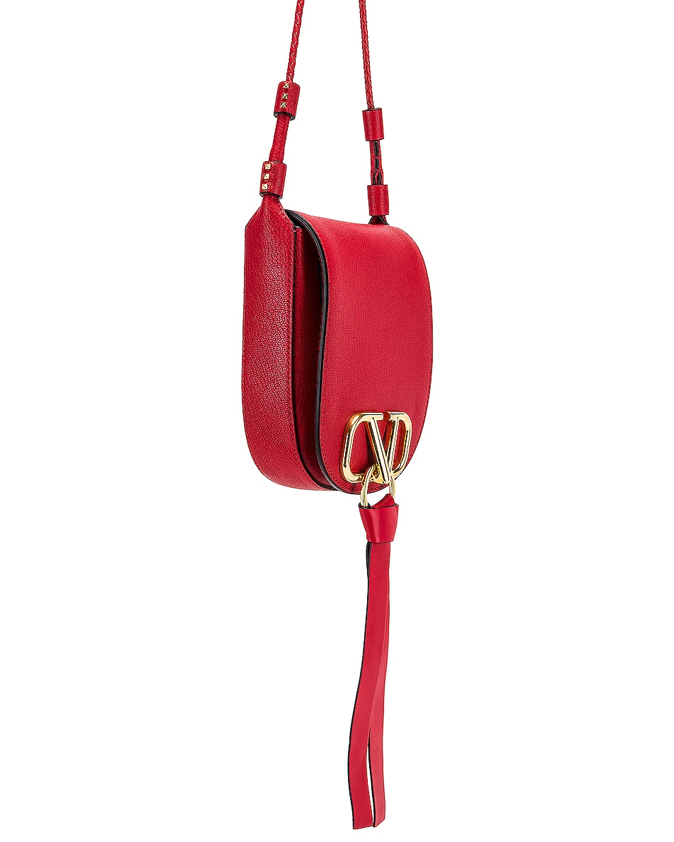 Image 4 of Valentino VRing Small Saddle Bag in Rouge