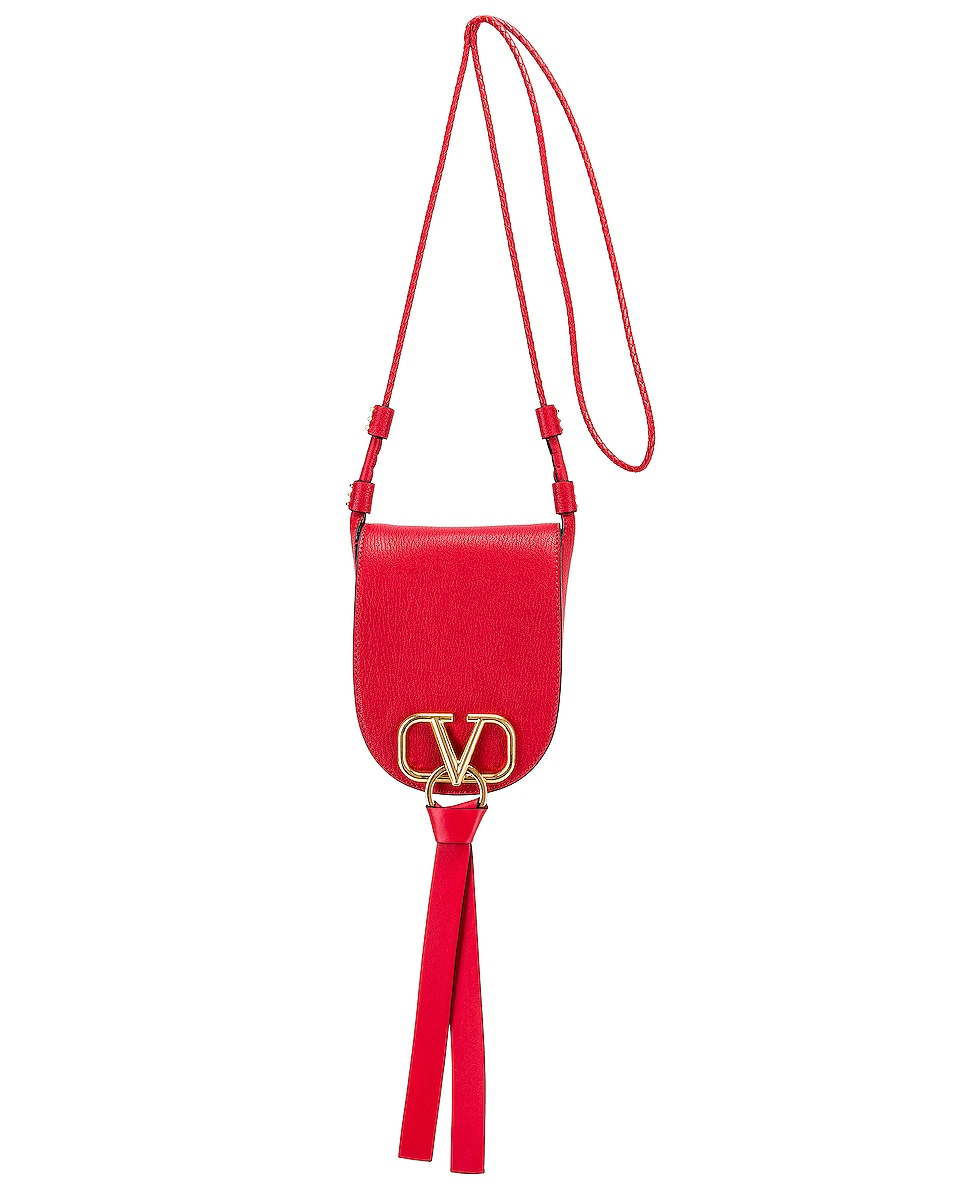 Image 6 of Valentino VRing Small Saddle Bag in Rouge