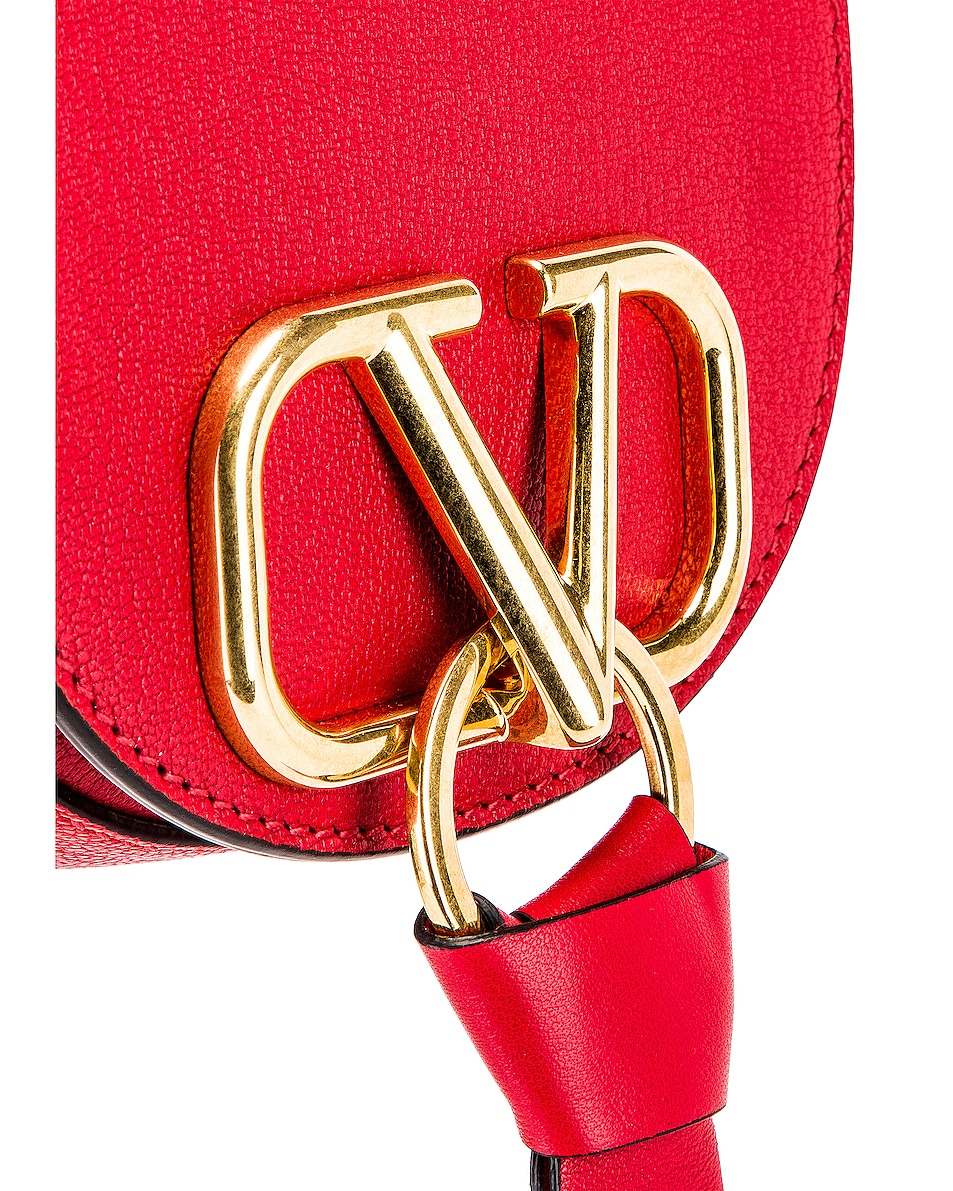 Image 8 of Valentino VRing Small Saddle Bag in Rouge