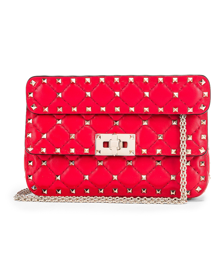 Image 1 of Valentino Rockstud Leather Spike Chain Shoulder Bag in Red