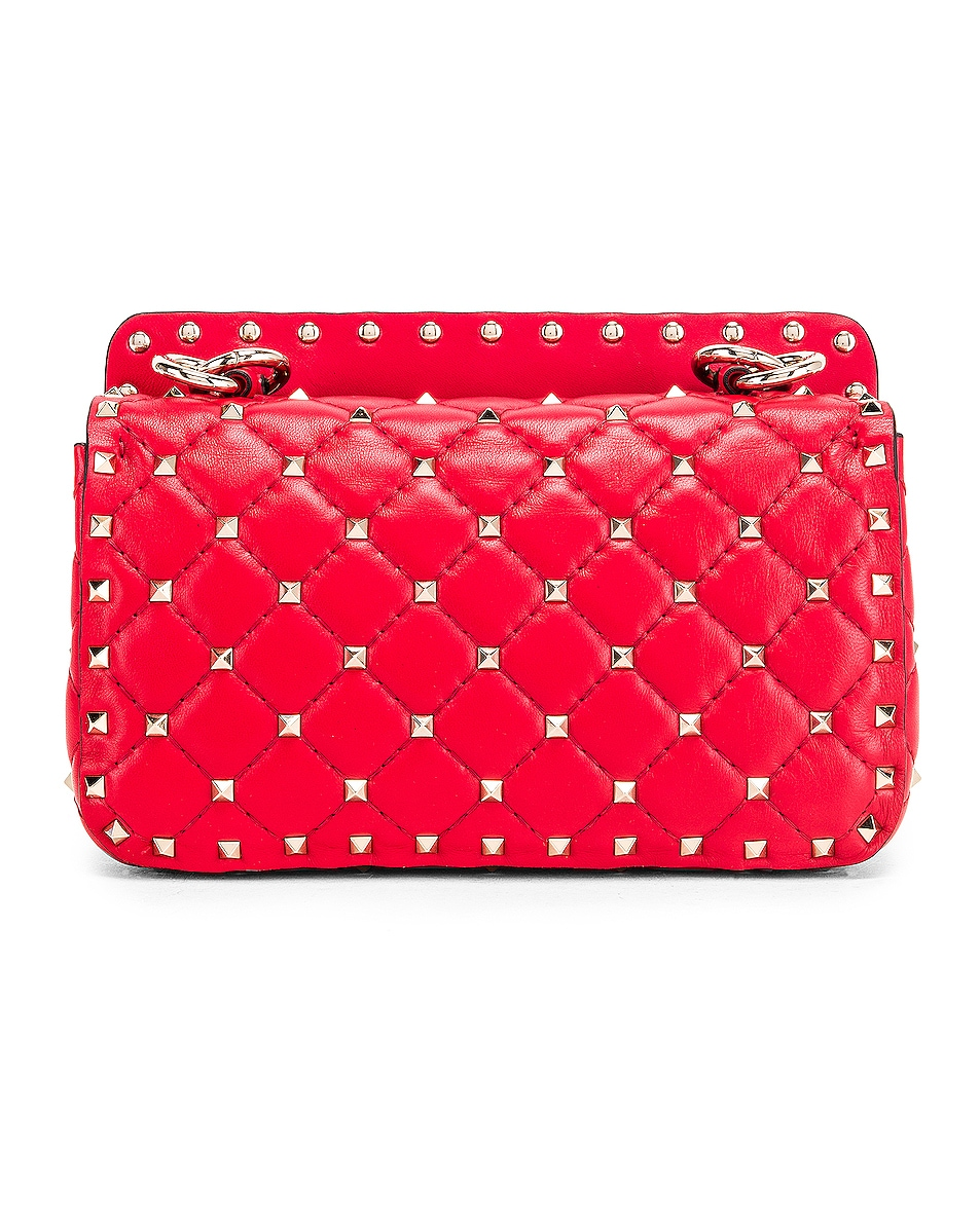 Image 3 of Valentino Rockstud Leather Spike Chain Shoulder Bag in Red