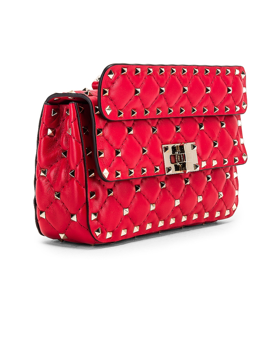 Image 4 of Valentino Rockstud Leather Spike Chain Shoulder Bag in Red