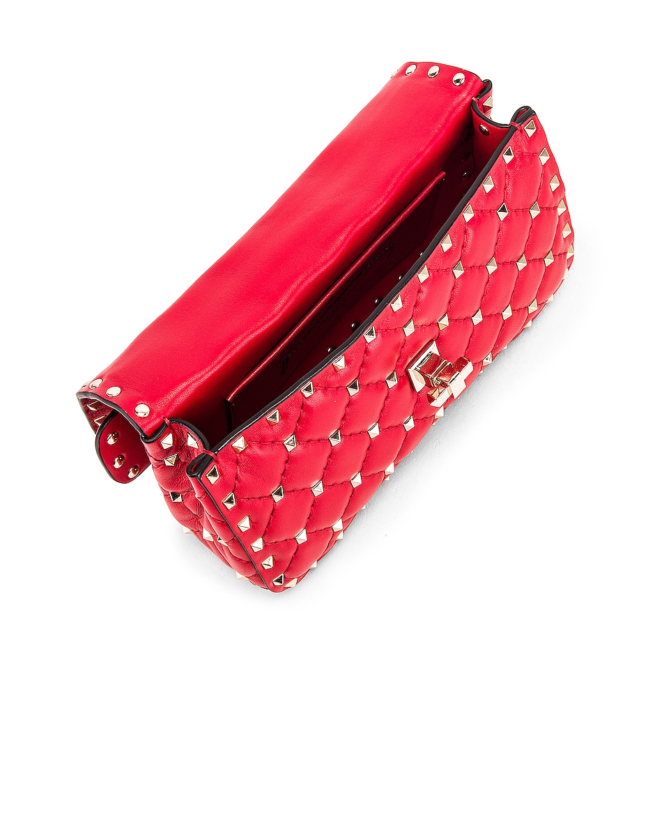 Image 5 of Valentino Rockstud Leather Spike Chain Shoulder Bag in Red