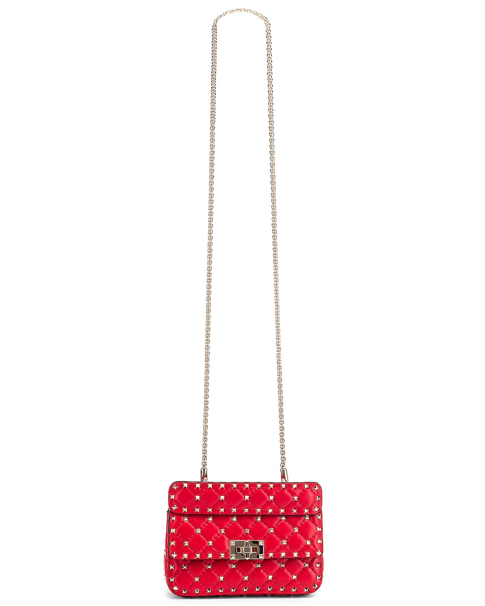 Image 6 of Valentino Rockstud Leather Spike Chain Shoulder Bag in Red