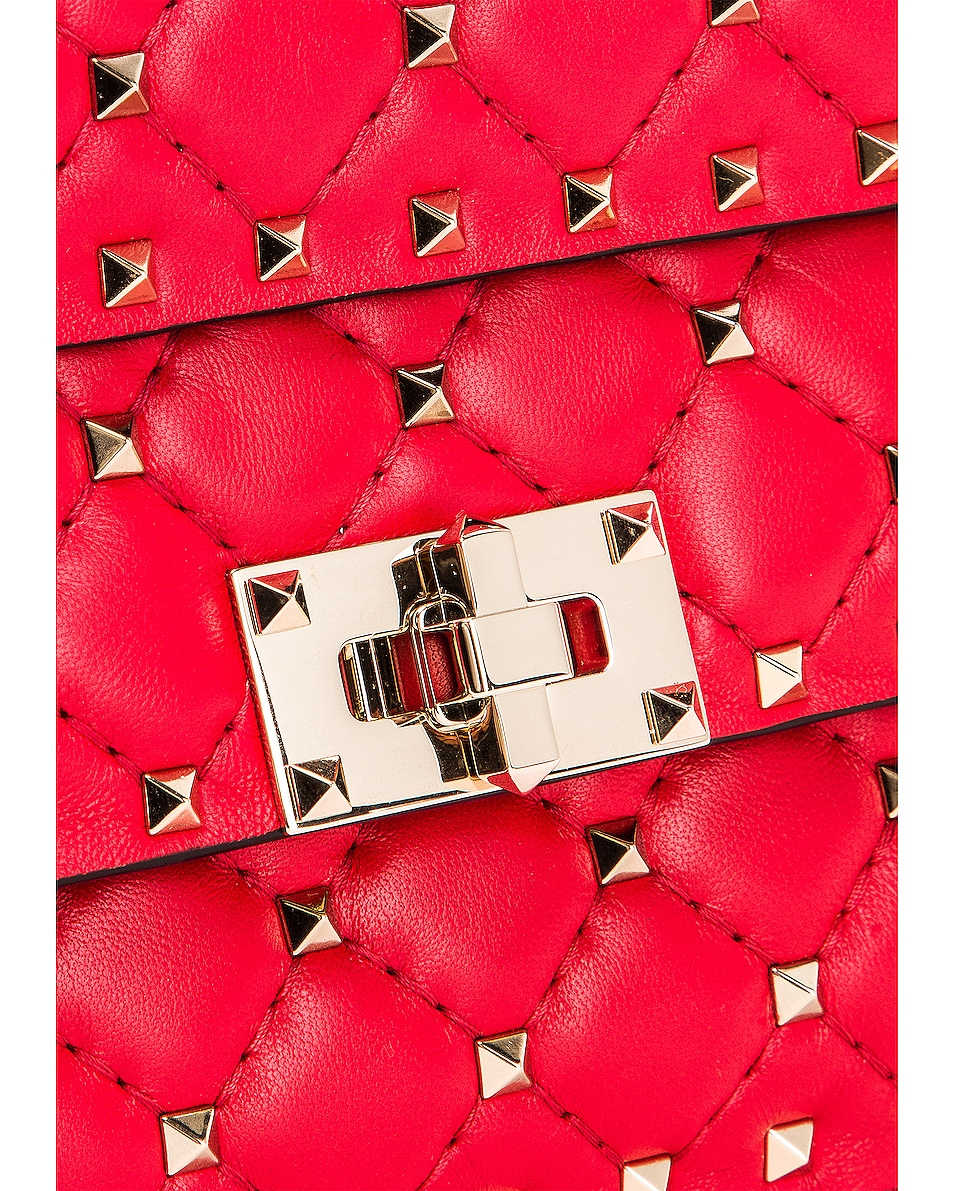 Image 8 of Valentino Rockstud Leather Spike Chain Shoulder Bag in Red