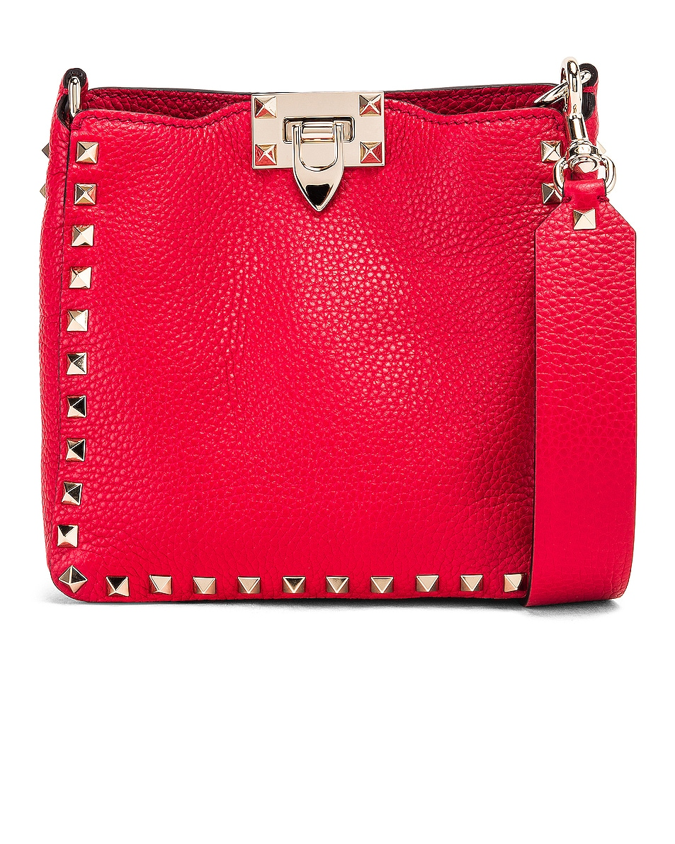 Image 1 of Valentino Rockstud Messenger Bag in Red