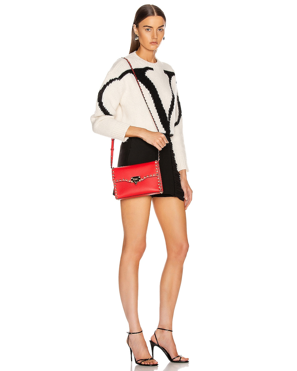 Image 2 of Valentino Rockstud Crossbody Bag in Red