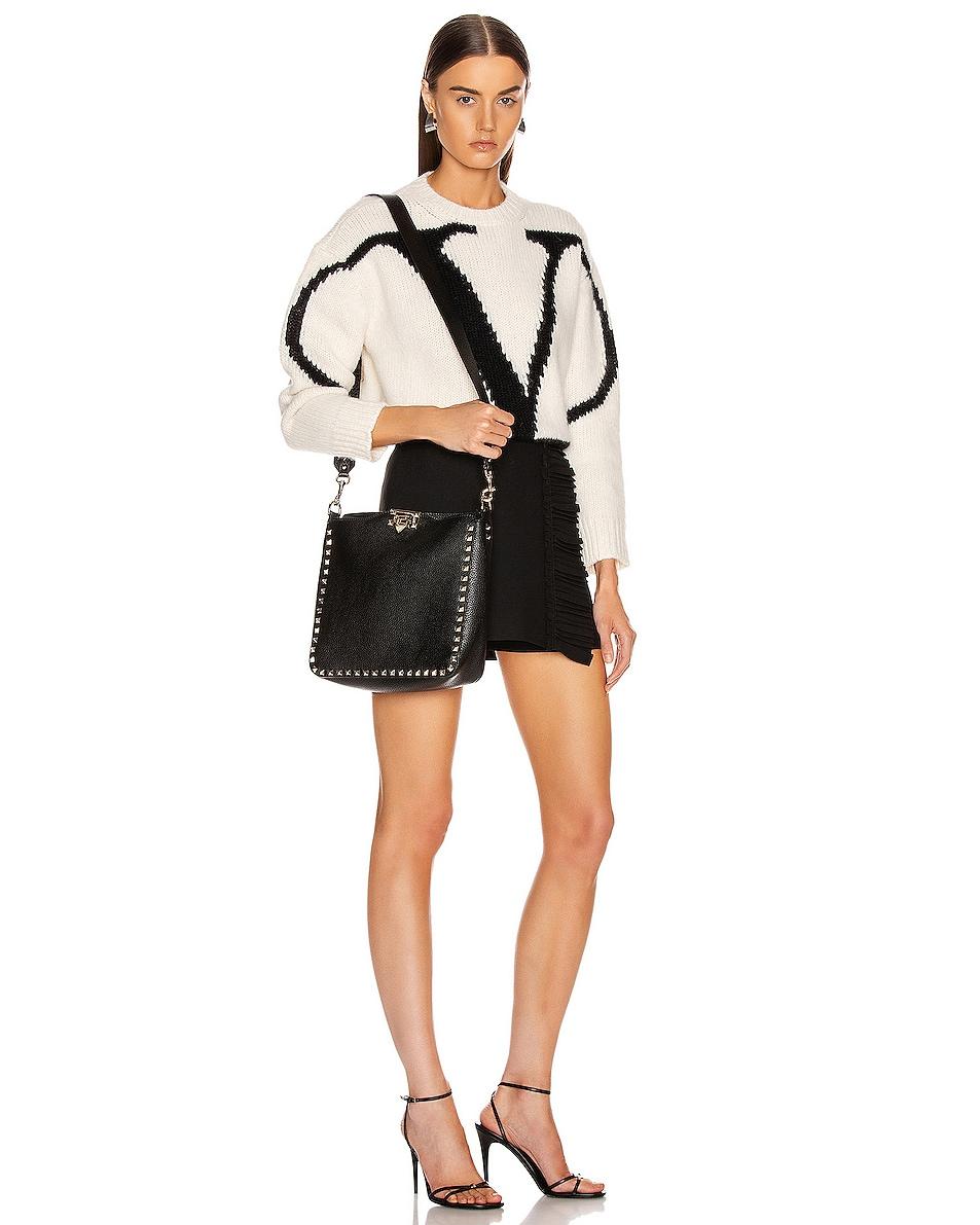 Image 2 of Valentino Rockstud Shoulder Bag in Black