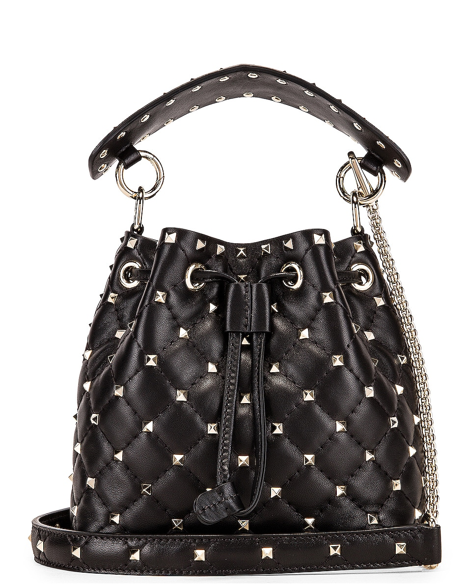 Image 1 of Valentino Rockstud Spike Small Bucket Bag in Black
