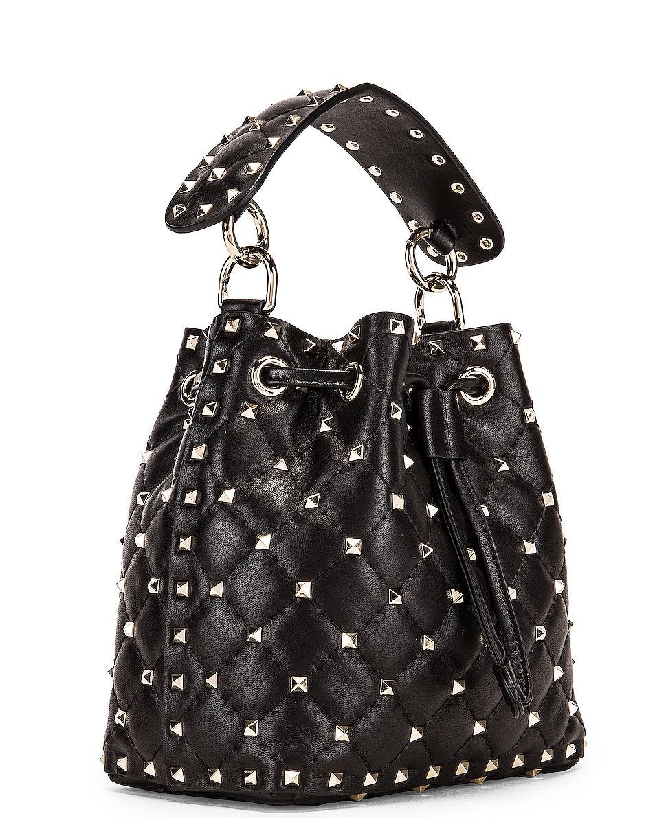 Image 4 of Valentino Rockstud Spike Small Bucket Bag in Black