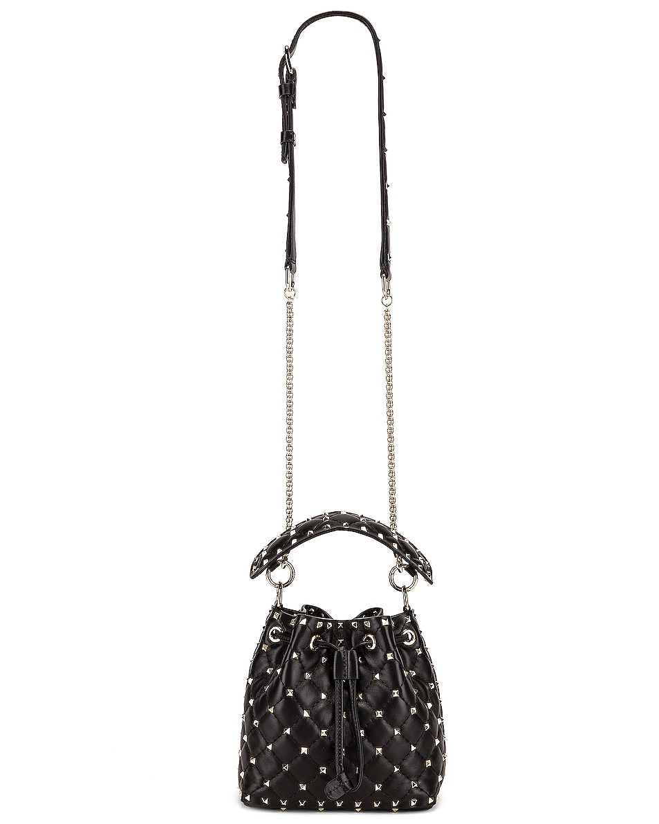 Image 6 of Valentino Rockstud Spike Small Bucket Bag in Black