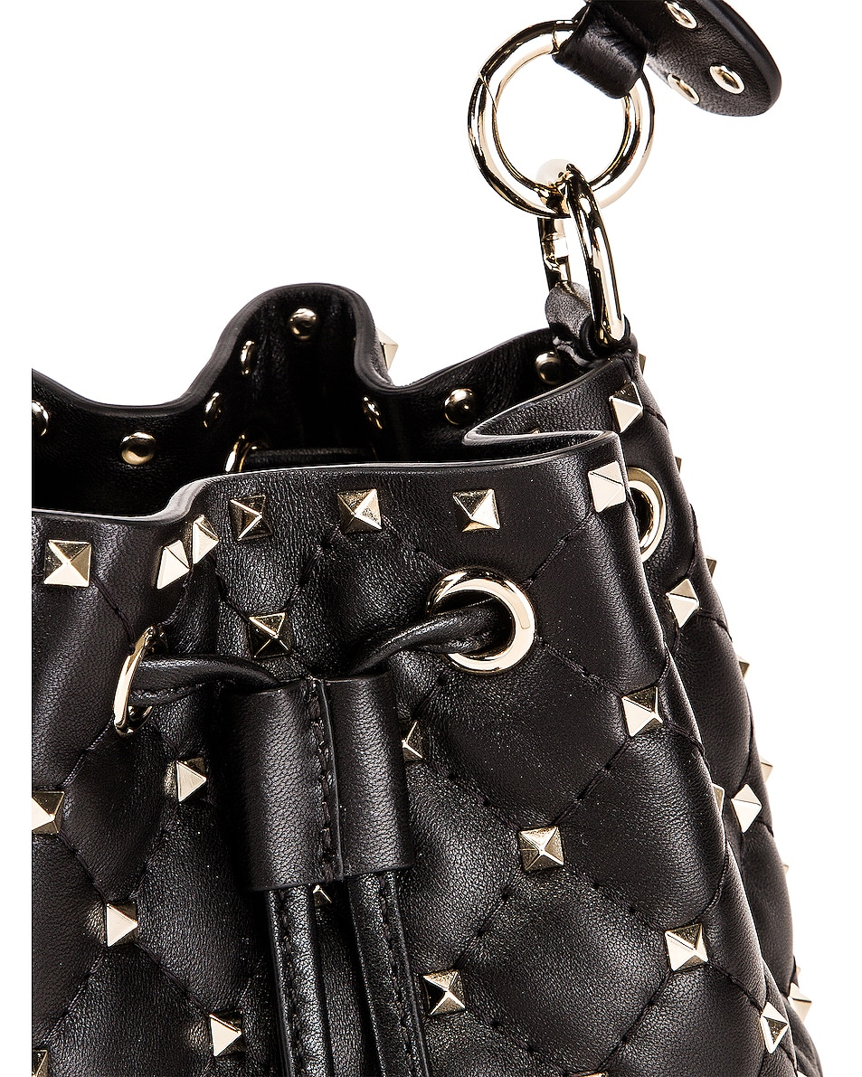 Image 8 of Valentino Rockstud Spike Small Bucket Bag in Black