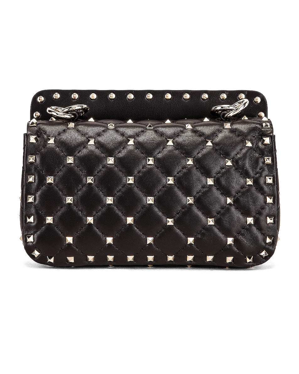 Image 3 of Valentino Rockstud Leather Spike Chain Shoulder Bag in Black