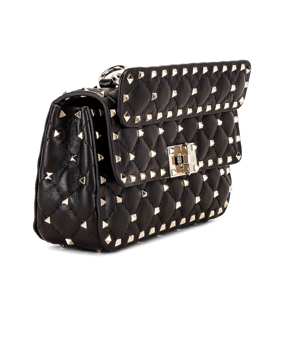 Image 4 of Valentino Rockstud Leather Spike Chain Shoulder Bag in Black