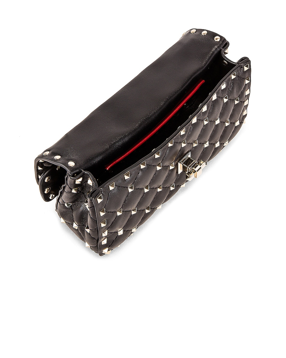 Image 5 of Valentino Rockstud Leather Spike Chain Shoulder Bag in Black
