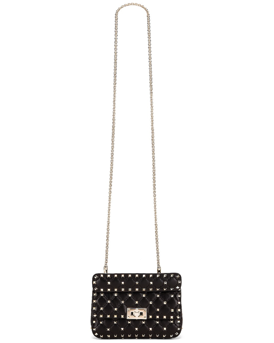 Image 6 of Valentino Rockstud Leather Spike Chain Shoulder Bag in Black