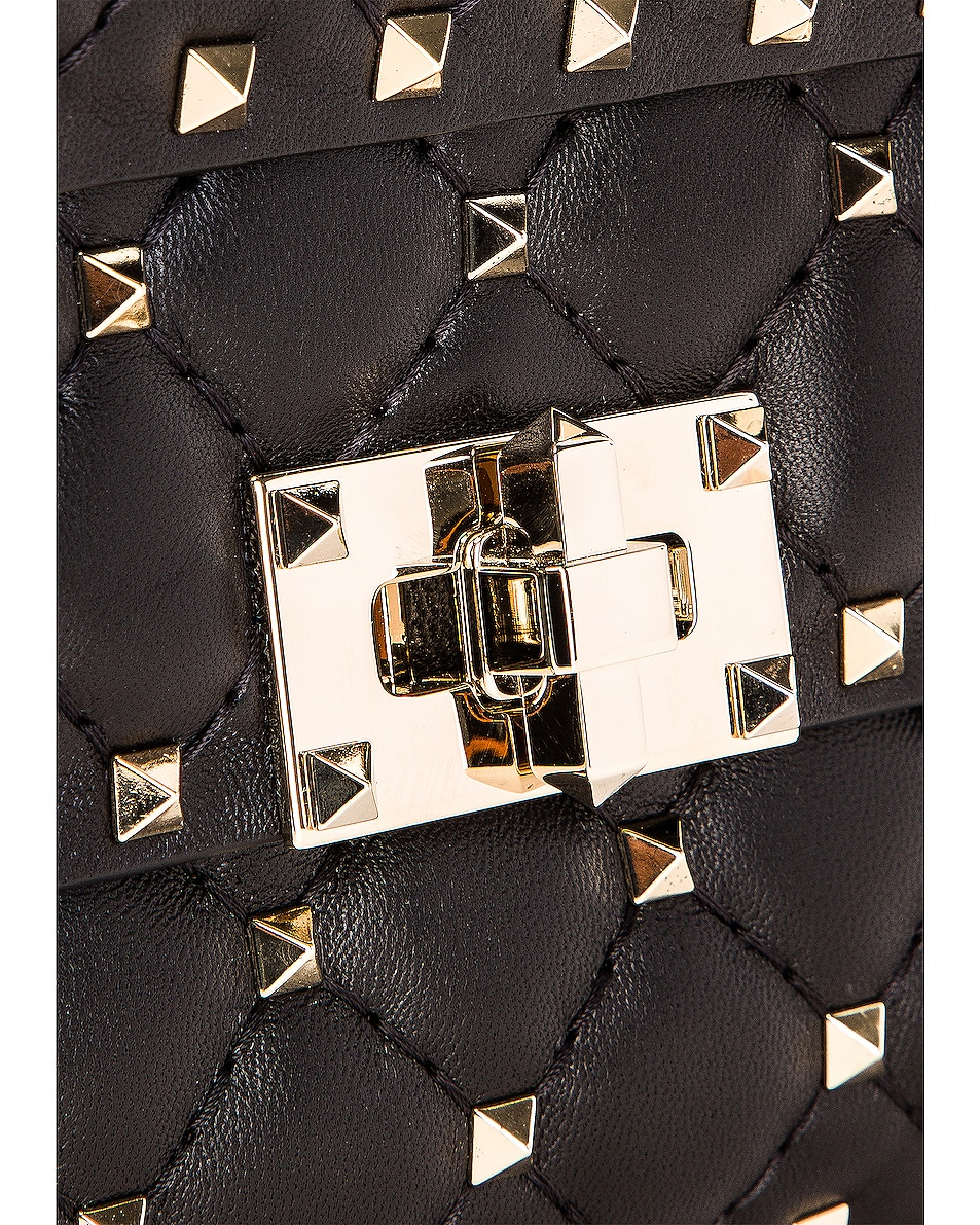 Image 8 of Valentino Rockstud Leather Spike Chain Shoulder Bag in Black
