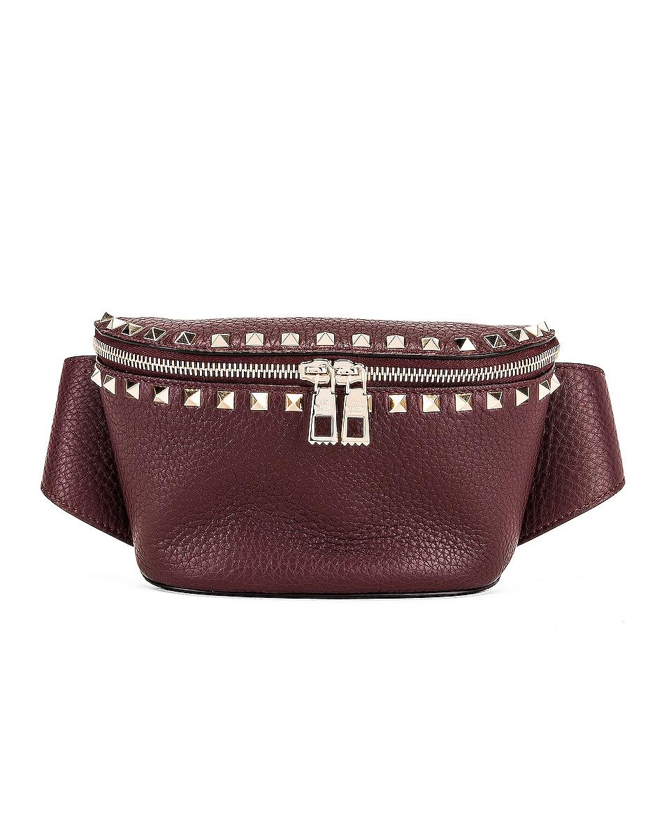 Image 1 of Valentino Rockstud Belt Bag in Rubin