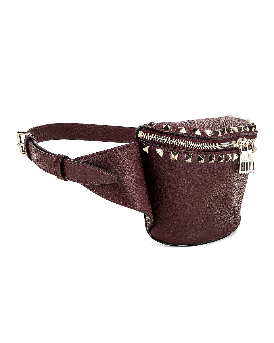 Image 4 of Valentino Rockstud Belt Bag in Rubin