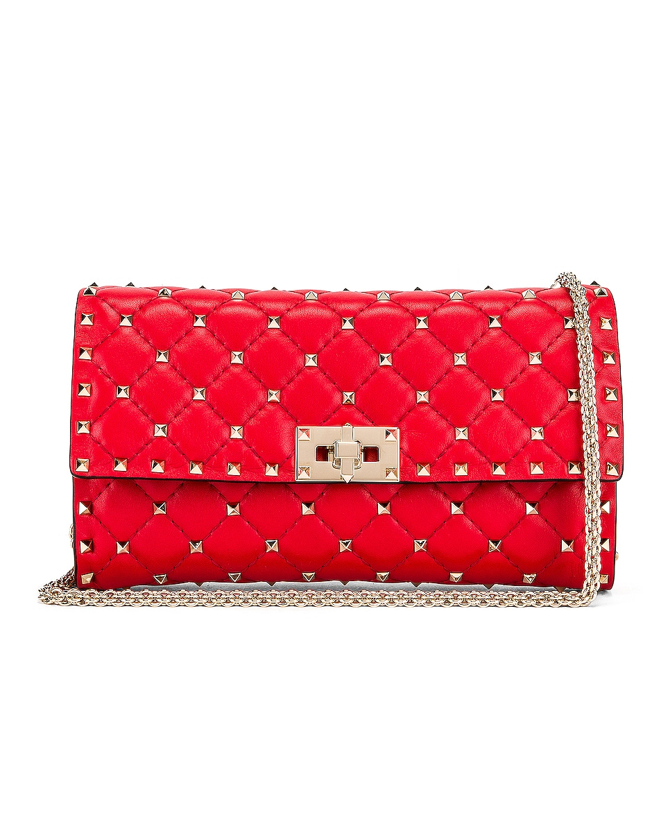 Image 1 of Valentino Rockstud Spike Shoulder Bag in Red