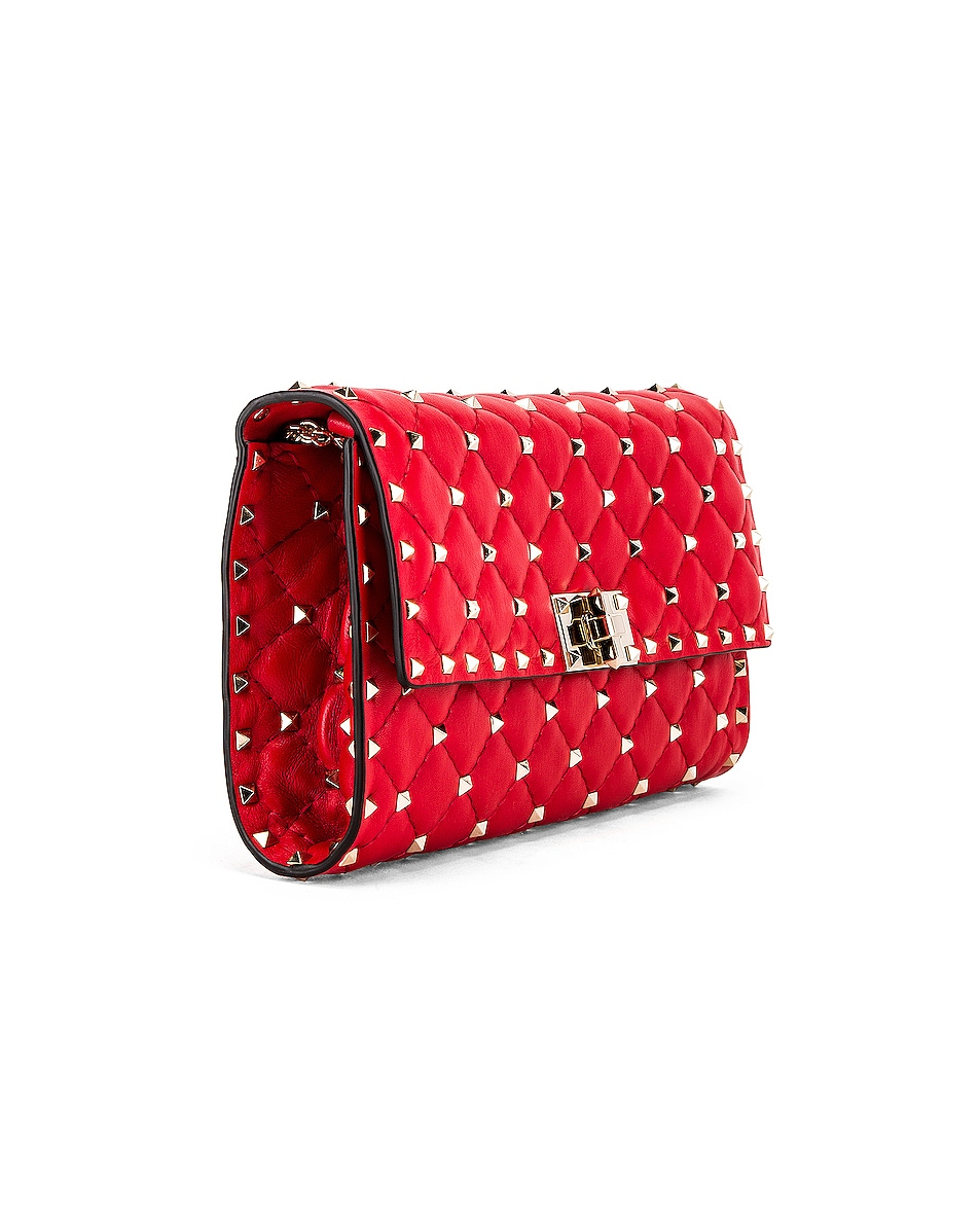 Image 3 of Valentino Rockstud Spike Shoulder Bag in Red