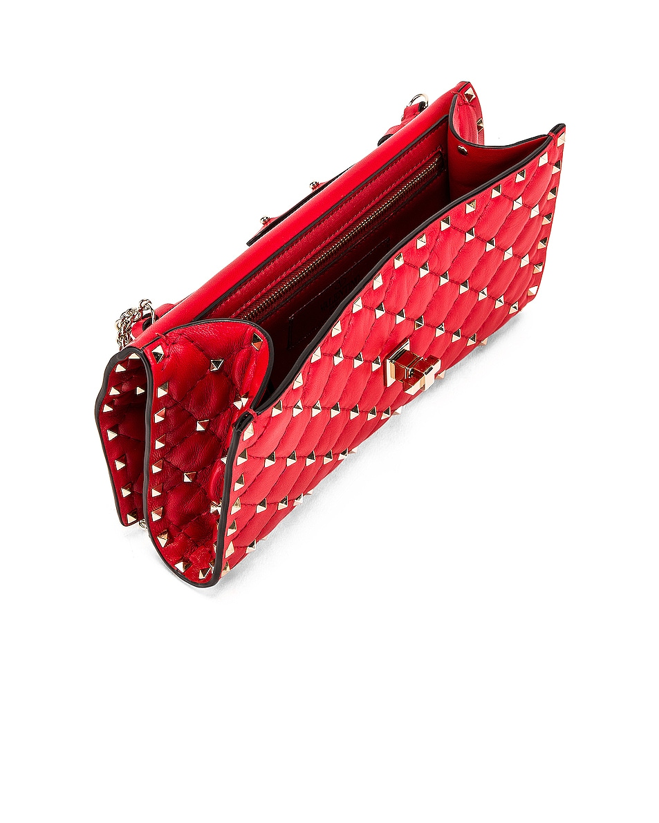 Image 4 of Valentino Rockstud Spike Shoulder Bag in Red