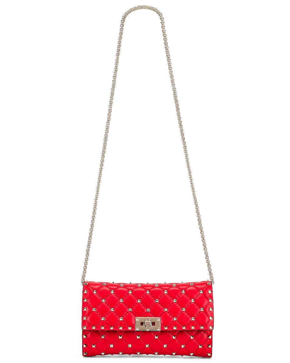 Image 5 of Valentino Rockstud Spike Shoulder Bag in Red