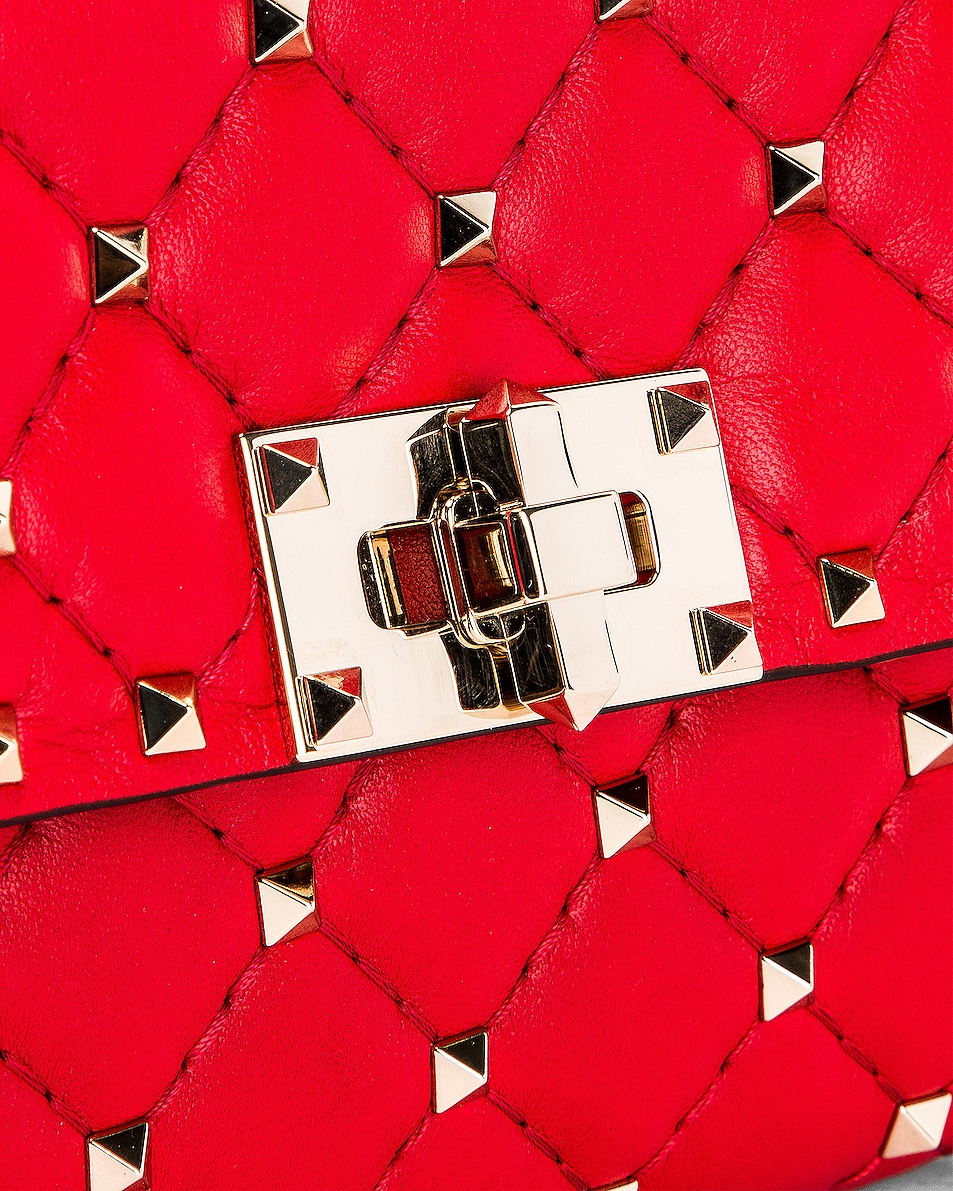 Image 7 of Valentino Rockstud Spike Shoulder Bag in Red