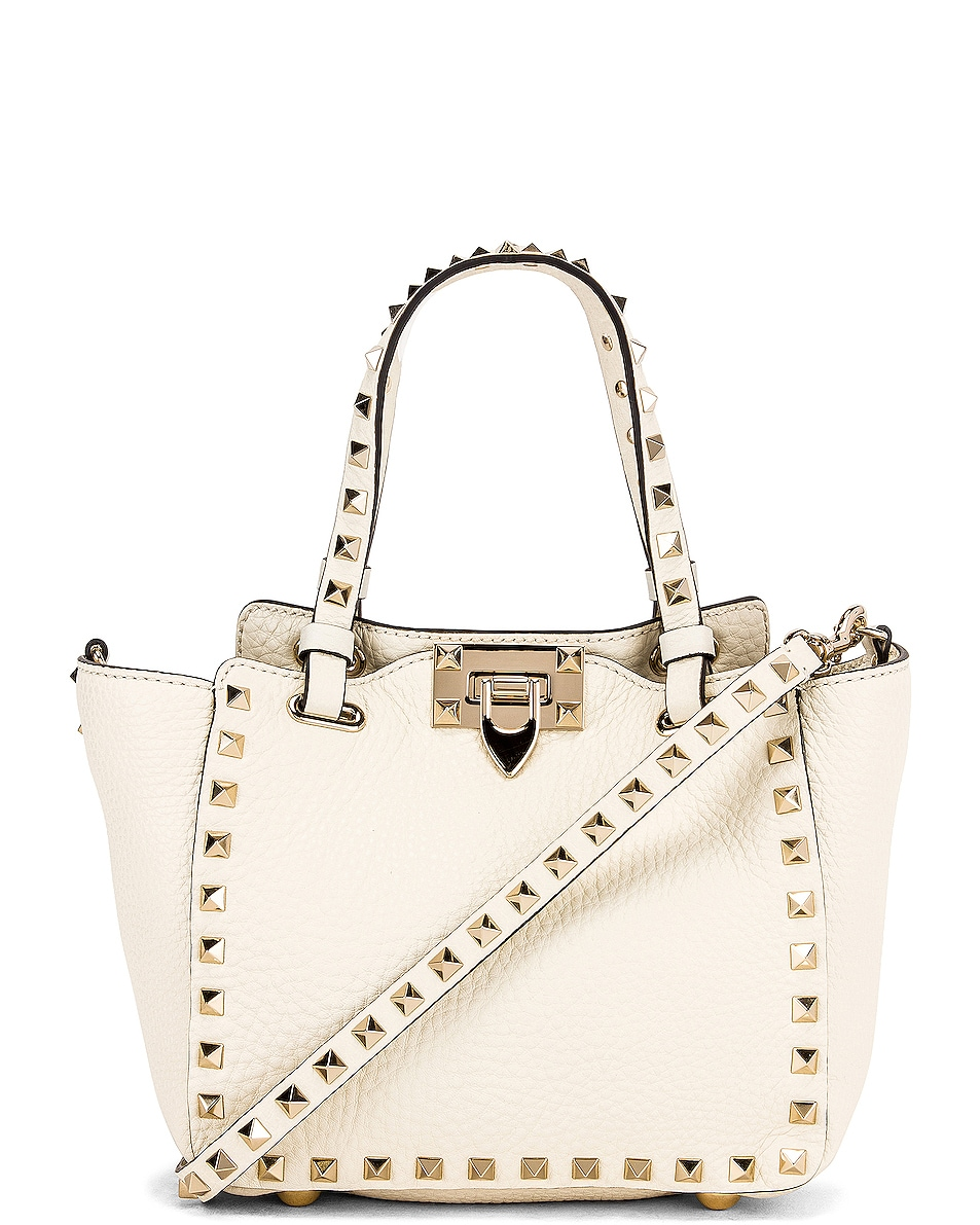 Image 1 of Valentino Rockstud Mini Tote in Light Ivory