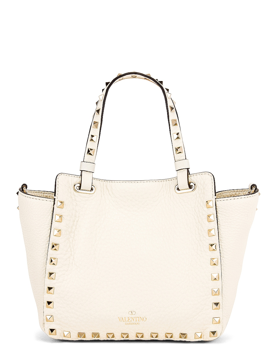 Image 3 of Valentino Rockstud Mini Tote in Light Ivory