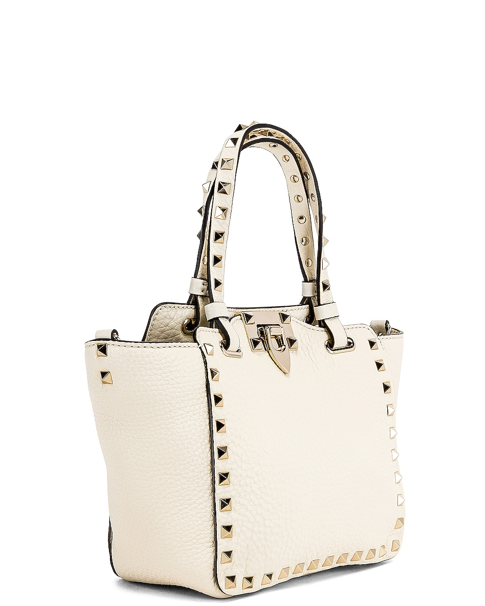 Image 4 of Valentino Rockstud Mini Tote in Light Ivory