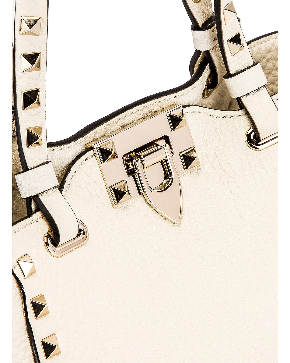 Image 8 of Valentino Rockstud Mini Tote in Light Ivory