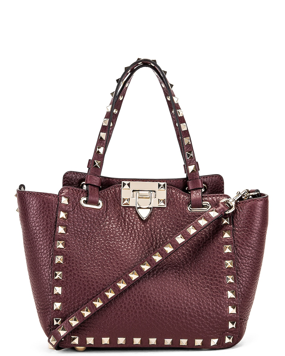 Image 1 of Valentino Rockstud Mini Tote in Rubin