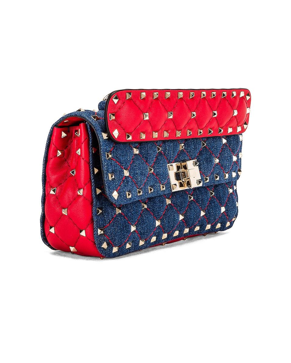 Image 4 of Valentino Rockstud Spike Shoulder Bag in Light Denim & Red