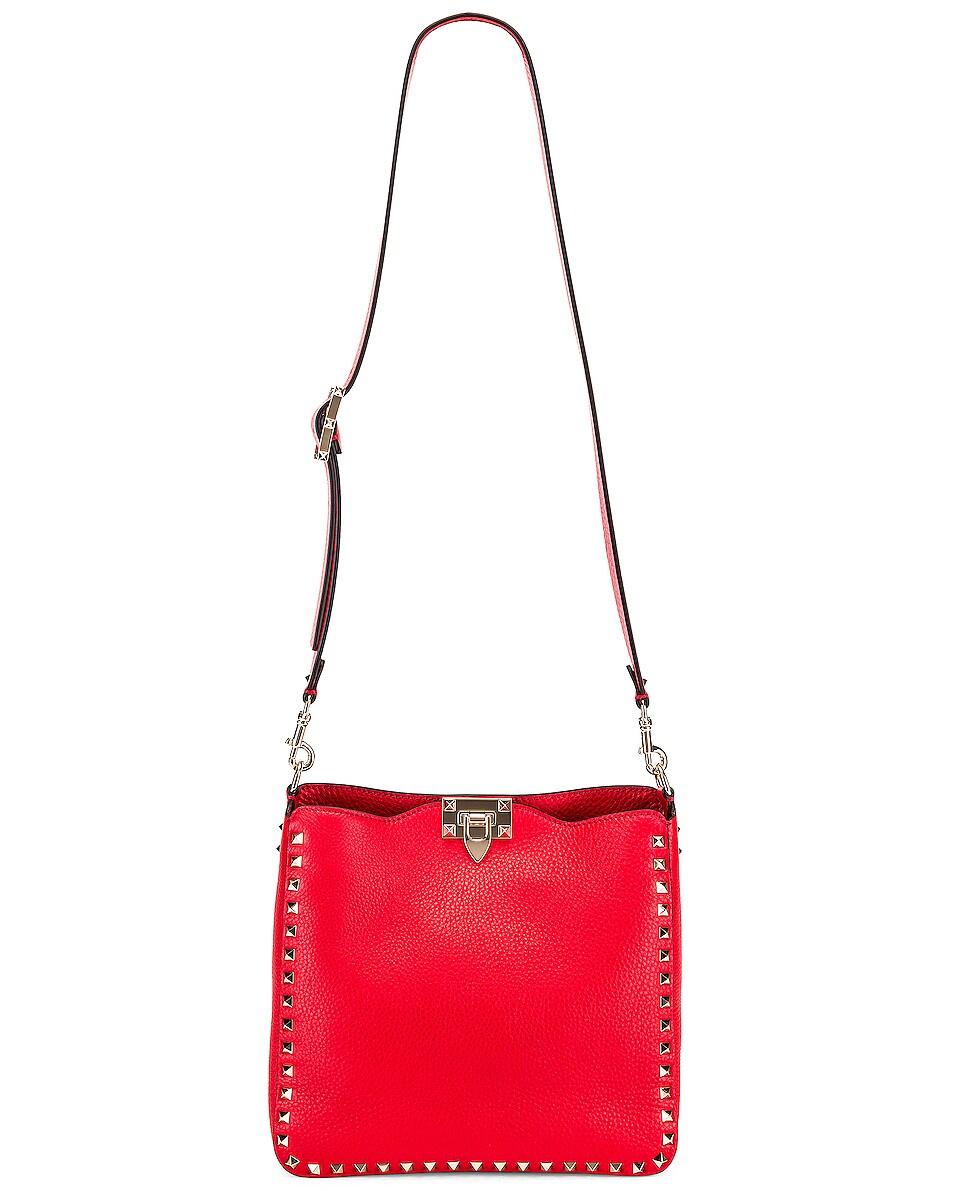 Image 5 of Valentino Rockstud Shoulder Bag in Red