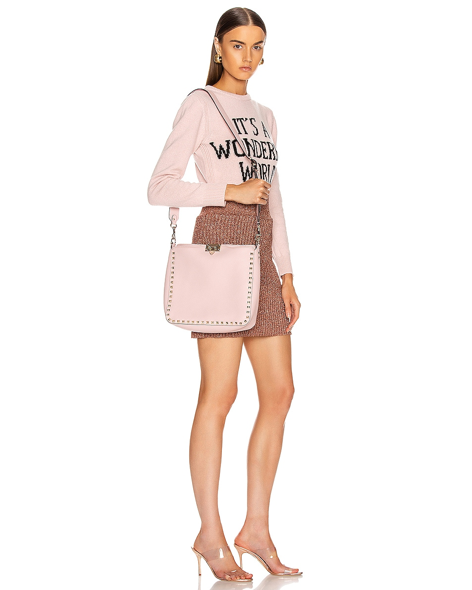 Image 2 of Valentino Rockstud Shoulder Bag in Water Rose